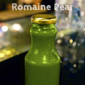 Organic, cold pressed Romaine Pear Juice