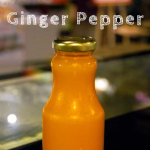 Organic cold pressed ginger pepper juice